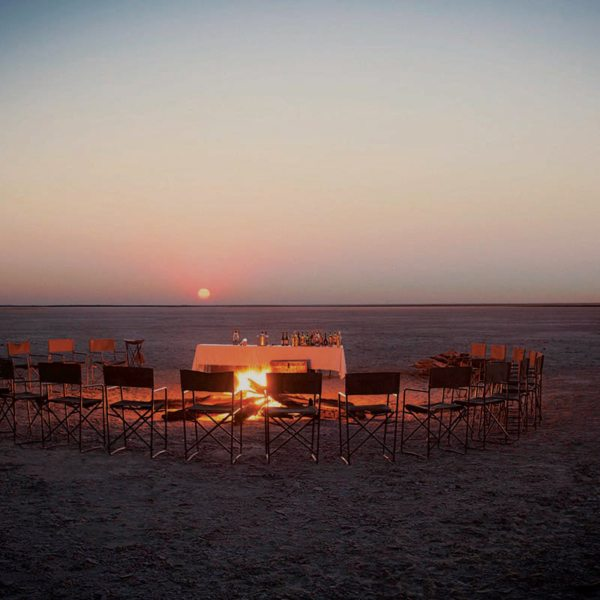No trip to San Camp is complete without sundowners on the pans. © Uncharted Africa