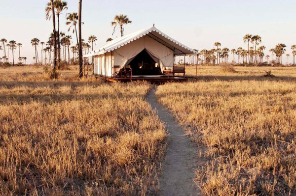 San Camp's guest tents are scattered along the edge of the saltpans. © Uncharted Africa