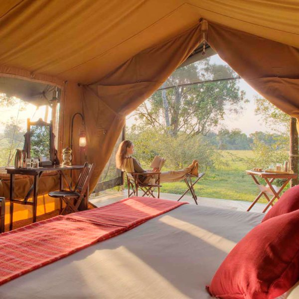 Elephant Pepper Camp has eight spacious safari tents for guests. © Elewana Collection