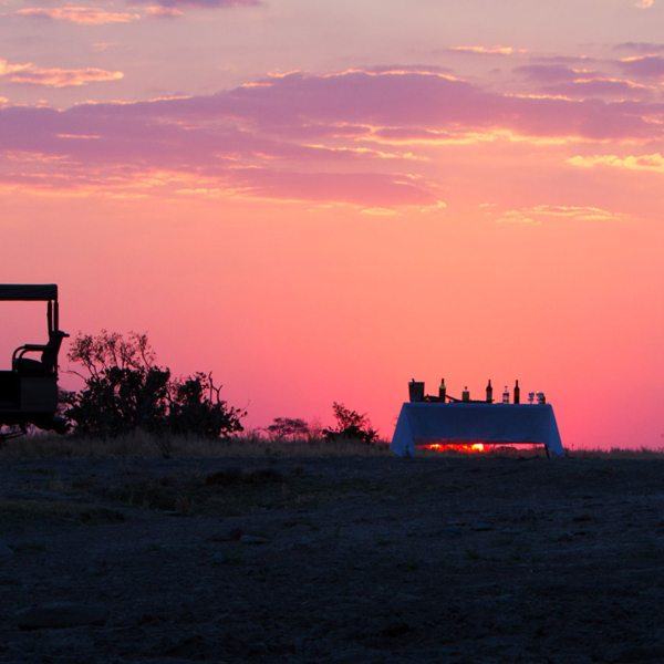 Having bush sundowners is a wonderful way to end your day at Savute Safari Lodge.