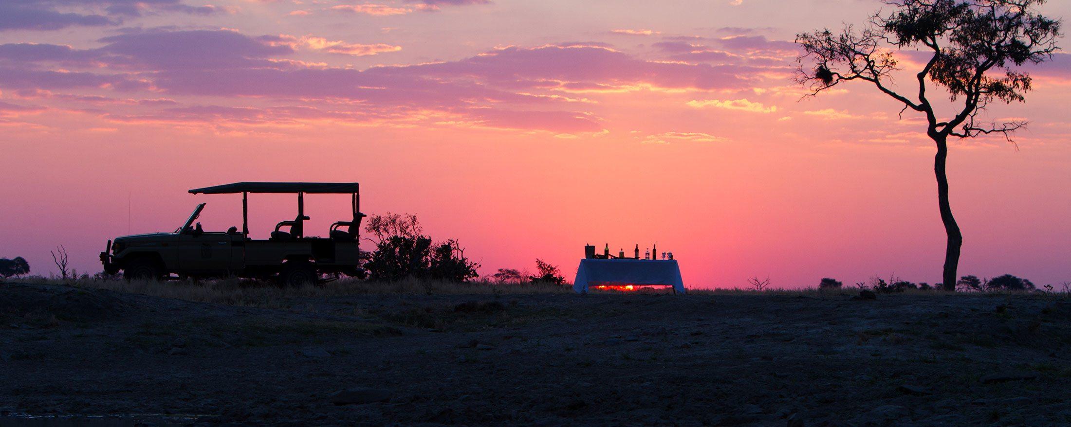 Having bush sundowners is a wonderful way to end your day at Savute Safari Lodge.