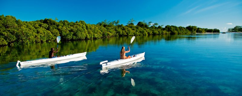 When kayaking on the Quirimbas Archipelago you'll see how crystal clear the water is.