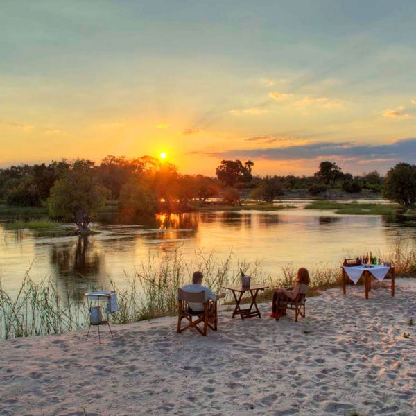 Sip sundowners right next to the Zambezi at The River Club.