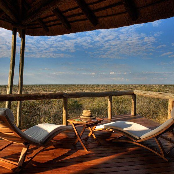 Tau Pan's guest rooms have private viewing decks. © Kwando Safaris