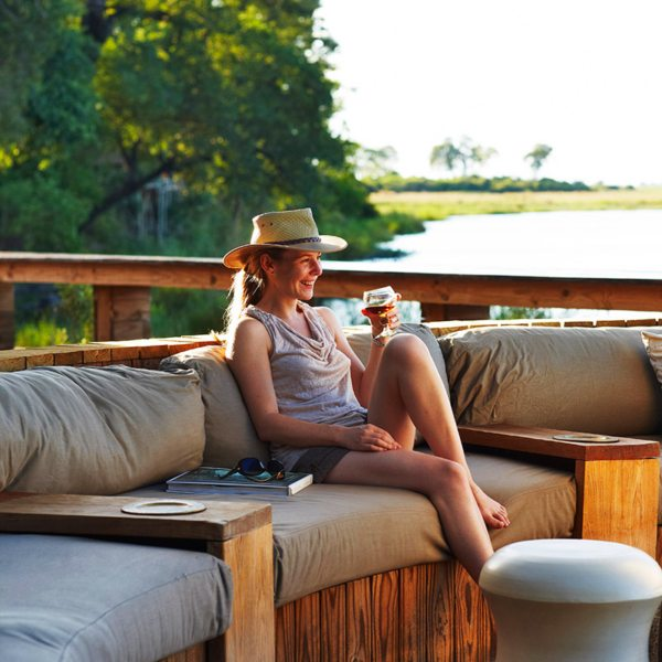 The outdoor guest area at Kings Pool is wonderfully relaxing. © Wilderness Safaris