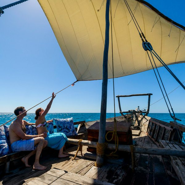 If you'd like you can learn a bit about sailing while island hopping in the Quirimbas. © Ibo Island Lodge