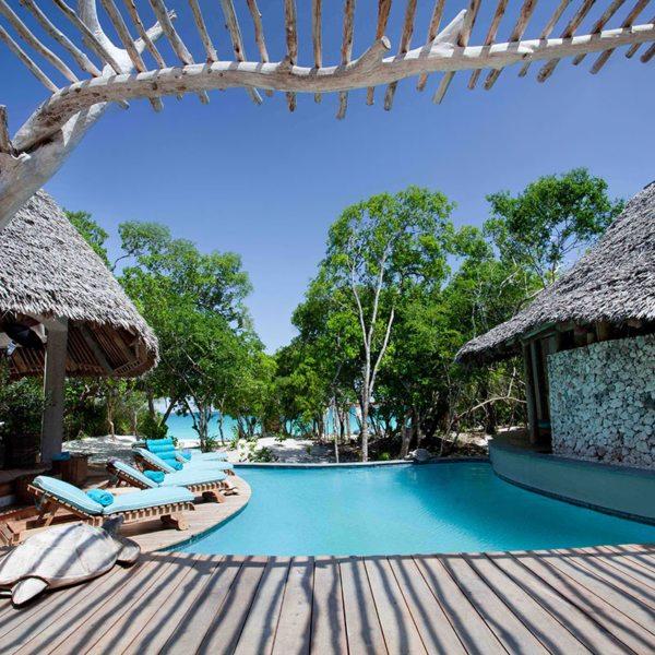 Vamizi Island's Casamina villa has a sparkling pool. © &Beyond