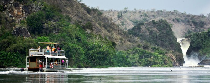 The water gets increasingly choppy as you approach Murchison Falls.