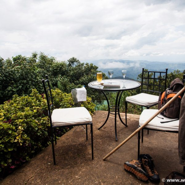 Treat yourself to a refreshing beer after gorilla trekking from Clouds Mountain Gorilla Lodge. © Uganda Safari Company