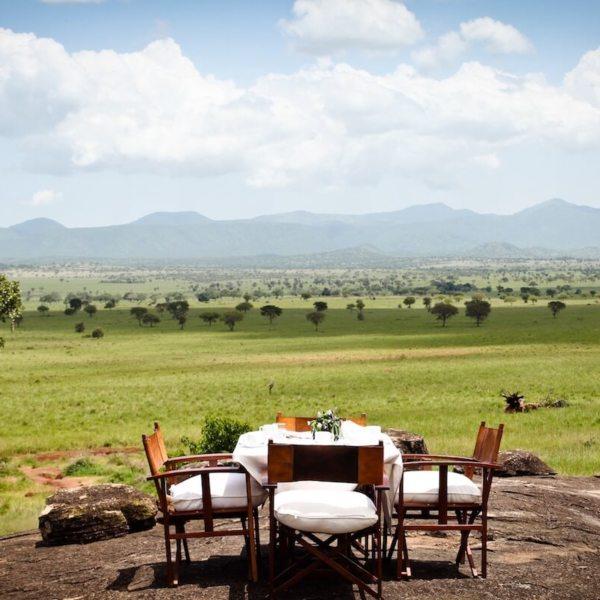 Take in the views while dining alfresco at Apoka Safari Lodge. © Uganda Safari Company