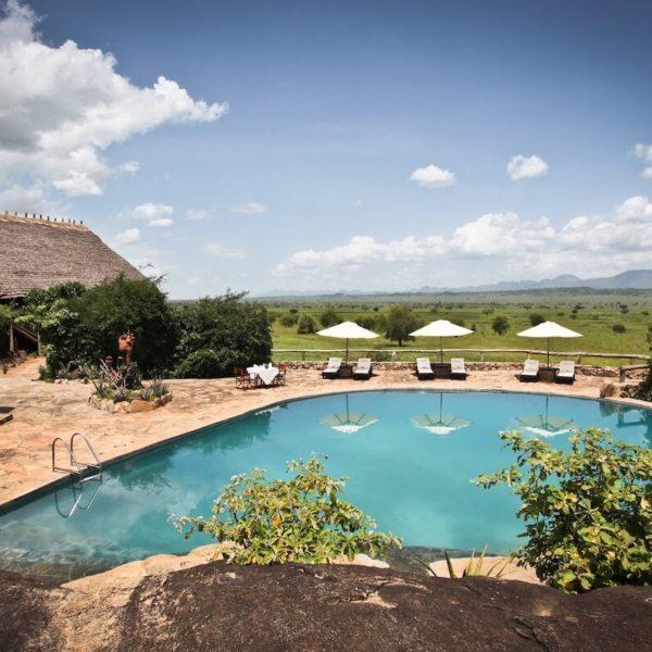 Cool off in the large swimming pool at Apoka Safari Lodge. © Uganda Safari Company