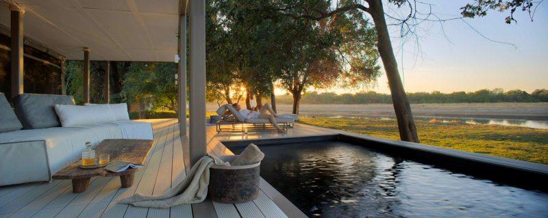 Chinzombo's villas have private plunge pools.