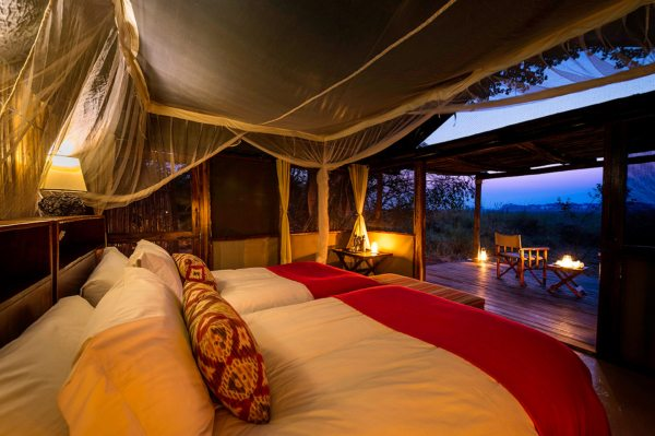 Busanga Bush Camp's tented suites afford lovely views over the plains. © Wilderness Safaris
