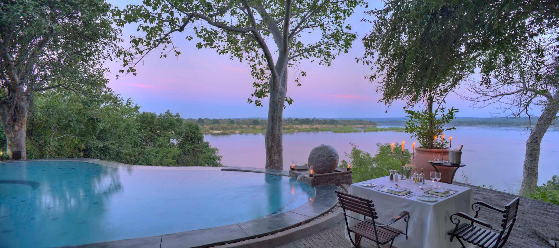Zambia_VictoriaFalls_The River Club_Private Dining_Pool