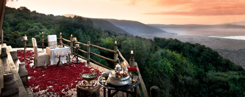 Nothing says 'romance' quite like a private dinner overlooking Ngorongoro Crater.