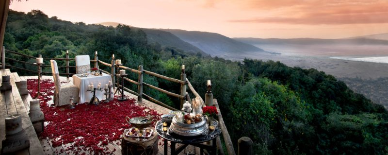 Go all out with a private rose-petal dinner at Ngorongoro Crater Lodge