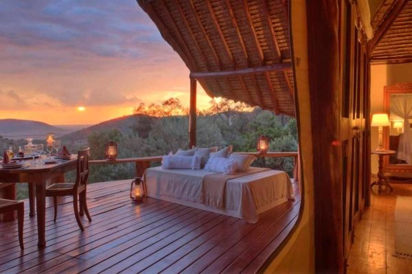 The deck of the honeymoon suite at Saruni Mara is ideal for private dinners with your love. © Saruni Mara