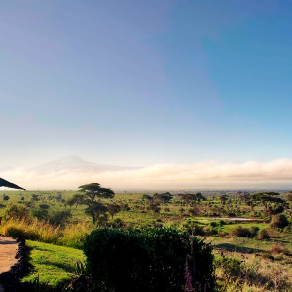 The guest area at Tortilis Camp Amboseli has Kilimanjaro views.