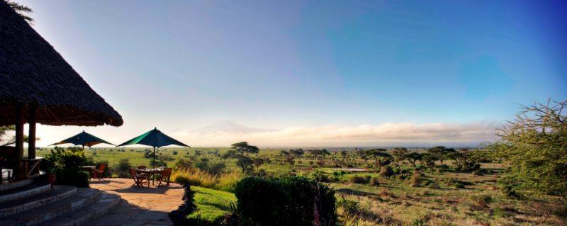 The guest area at Tortilis Camp Amboseli has Kilimanjaro views.