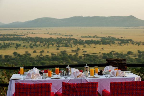 Serengeti Serena Safari Lodge is set high on a hill, with rolling vistas over the teeming Serengeti plains. © Serena Hotels