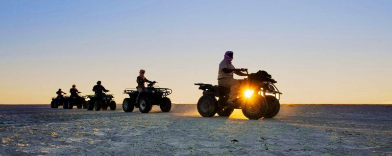 Quad biking on the Makgadikgadi Pans is a magical experience. © Uncharted Africa