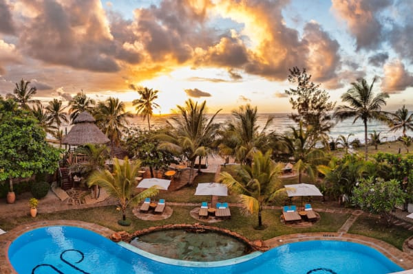 AfroChic Diani Beach is set right in front of the Indian Ocean. © AfroChic Diani Beach